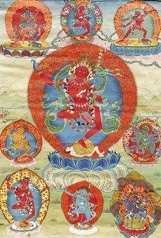 Beautiful thangka painting design of Vajrayogini surrounded by other Dakinis and manifestations. Buddhist Symbols, Buddhist Art, Vajrayana Buddhism, Thangka Painting, Tibetan Art, Religious Art, Paint Designs, Fabric Scraps, Deities