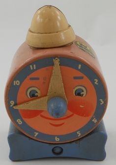 Vintage Wooden Toy Clock / Bank Circa 1940 - LOVE this.