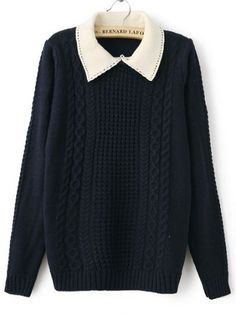 Navy Contrast Lapel Long Sleeve Cable Knit Sweater pictures