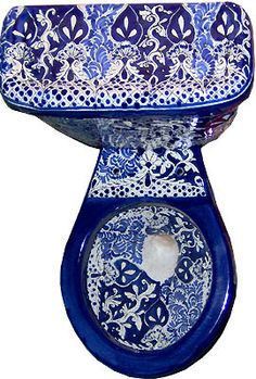 mexican toiletoptional talavera sink, seat amp accessory set product mexican bathroom hand painted toilet set product origin hand painted in Dolores Hidalgo, Mexico delivery . Flush Toilet, Classic Interior, Bath Decor, Bath Accessories, Bathroom Fixtures, Decorating Your Home, French Country, Blue And White, Hand Painted