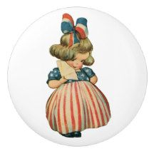 American Patriotic Vintage Girl Ceramic Knob