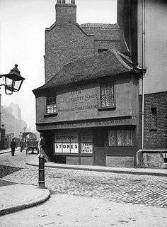 Old Curiosity Shop, Portsmouth Street, Westminster, London  An exterior view of the Old Curosity Shop as immortalised by Charles Dickens in 'Little Nell'. It was built in 1567.   Photographer : York and Son. Date taken : 1870 - 1900