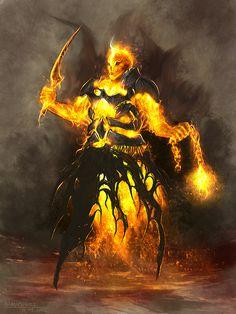"""Fire Elemental"" by Adrian Naumowicz (Skulio) | #Fantasy"