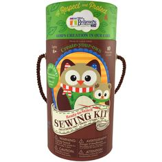 Woodland Sewing Kit! Little hands have everything they need to create Olivia the Owl, Opal the Owlet, an unhatched egg, a hatched egg and a cozy nest (10 pieces). The cylinder box with rope handle is adorned with a poem that teaches about God's gifts and grace.