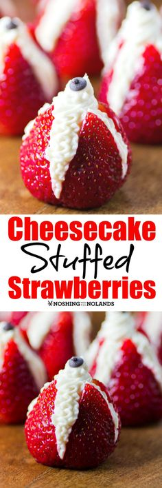Cheesecake Stuffed Strawberries by Noshing With The Nolands, nothing could be simpler and more delicious for a summer berry treat or dessert! // with a tall flute filled with champagne! Easy Summer Desserts, 4th Of July Desserts, No Bake Desserts, Delicious Desserts, Yummy Food, Summer Recipes, Fruit Recipes, Sweet Recipes, Dessert Recipes