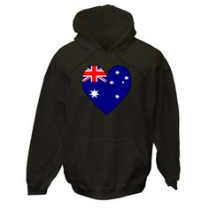 Image on products, apparel, merchandise, tees, T-shirts, and baby & toddler items, features a heart shaped Flag of Australia, or Australian Flag. Fun for Valentine's Day or any time you want to share your love and pride in your ethnic Aussie heritage, culture and ancestry.Terrific gift for Christmas or birthday, too. Lovely way for travelers to recall a trip, vacation or holiday. $75.99 ink.flagnation.com Looks great on this black hoodie. Design by @Auntie Shoe.