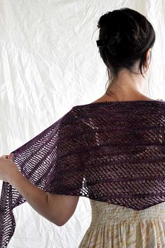Great to throw on over a dress this spring!  Artyarns Ensemble Light Glitter would make it especially fabulous