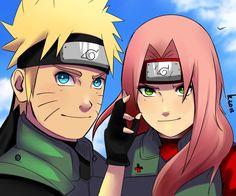 Naruto - Naruto Uzumaki x Sakura Haruno - NaruSaku Sasuke Sakura, Naruto Kakashi, Naruto Anime, Naruto Cute, Naruto Shippuden Sasuke, Hinata, Boruto, Manga Anime, Team 7