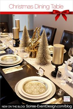 How to Style Your Holiday Dining Table 3 Ways! First up, this Gold Holiday Dining Table by Soiree Event Design. Silver Christmas Decorations, Christmas Table Settings, Christmas Tablescapes, Christmas Centerpieces, Holiday Tables, Christmas Dining Table Decorations, Dining Decor, Tree Decorations, Deco Table Noel