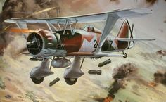 Henschel Hs 123 Legión Cóndor, Guerra Civil Española, by Roy Cross