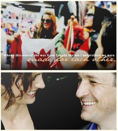 """""""Explaining the chemistry between two people is impossible. It's not something you can work on. They have it or they don't. About Stana, 140 actresses were auditioned for the role of Kate Beckett! Many of them had talent but as soon as Stana came in it was over. The producers were sure she was the perfect person for that role. When I discovered she was from Canada like me, I understood we were made for each other."""" -Nathan Fillion"""