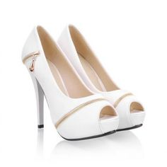 Trendy Zipper and Solid Color Design Peep Toed Shoes For Women Fancy Shoes, Cute Shoes, White High Heels, Cinderella Shoes, Peep Toe Shoes, Slipper Boots, Beautiful Shoes, Shoe Collection, Wedding Shoes