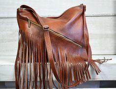 Leather fringe bag. Leather fringe purse. Fringed by BeMineBags