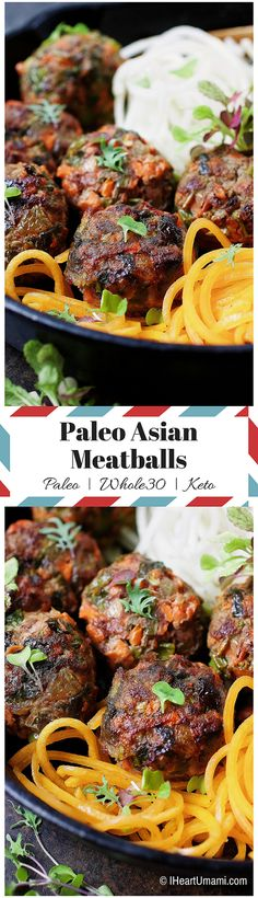 Paleo Asian Meatballs ! Juicy and jumbo size Asian meatballs baked in muffin tins to preserve all the juicy goodness. The meatballs are packed with tons of delicious veggies to help you and the family to have a balanced diet. Make a large batch for the coming week. Perfect meal prep recipe ! Whole30 friendly !