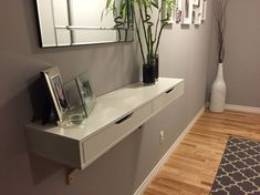 Ekby IKEA for hallway (where to put shoes though? Small Entrance Halls, Entrance Hall Decor, Entrance Ways, House Entrance, Entry Ways, Entrance Lighting, Hall Lighting, Small Hallway Decorating, Home Decor Ideas