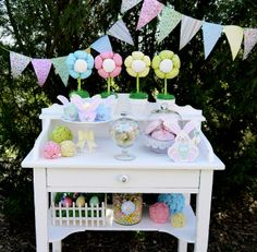 Easter Bunny Party Desserts table