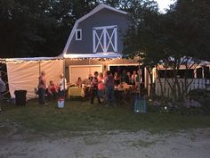 Decorated barn (used tarp as tent)
