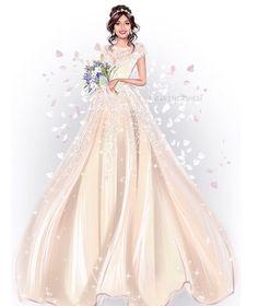 Wedding Prints, Wedding Art, Long Wedding Dresses, Bridal Dresses, Formal Dresses, Dress Design Drawing, Wedding Illustration, Family Painting, Cute Paintings