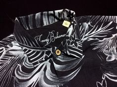 TOMMY BAHAMA Mens L Black White Floral Silk Short Sleeve Hawaiian Camp Shirt #TommyBahama #Hawaiian $29.99 | Men's Fashion | Menswear | Spring/Summer | Shop at designerclothingfans.com