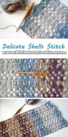 Delicate Shells Crochet Stitch – Great for a crochet summer project. #crochetsttich #summercrochetstitch #crochetmeshstitch #lacycrochetshells #meladorascreations Different Crochet Stitches, Crochet Stitches Patterns, Pdf Patterns, Stitch Patterns, Free Pattern, All Free Crochet, Single Crochet, Knit Crochet, Crochet Summer