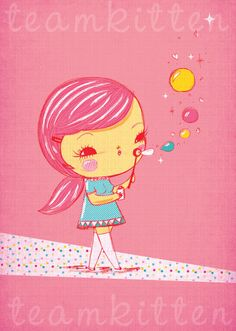 Illustration print  magic bubbles by teamkittenshop on Etsy, $20.00