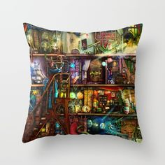 The Fantastic Voyage - a Steampunk Book Shelf Throw Pillow by Aimee Stewart - Cover x with pillow insert - Indoor Pill Couch Pillows, Down Pillows, Steampunk Book, Fantastic Voyage, Designer Throw Pillows, Poplin Fabric, Pillow Design, Throw Pillow Covers, Pillow Inserts