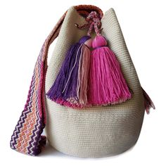 This beautiful, one-of-a-kind was carefully made using a double thread technique for the body. It has a traditional double thread strap and drawstring. The colors and patterns of this was inspired by the vivid colors and shapes tha Shoulder Handbags, Vivid Colors, Bucket Bag, Shapes, Traditional, Boho, Inspired, Crochet Ideas, Leather