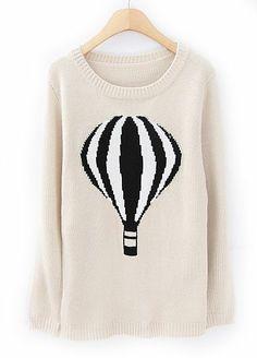 Apricot Long Sleeve Balloon Print Pullover