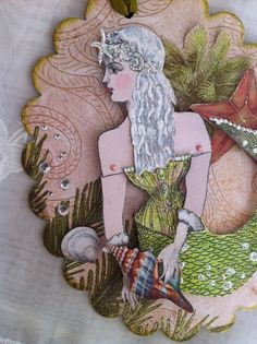 Mermaid Paper  Doll Articulated Art Tag 3D Corset by ParisPluie, $17.00