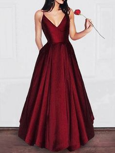 A-Line V-neck Floor-Length Satin Sleeveless With Ruffles Dresses