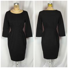 "BCBG Max Azria ""to The Max"" Black Ponte Knit Sheath Dress Medium 