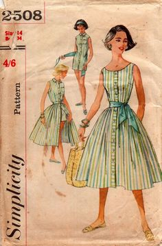e40227f8685c1 Simplicity 2508 Womens Playsuit Blouse Skirt   Sash 50s Vintage Sewing  Pattern Size 14 Bust 34 inches