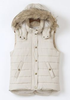 Warm and Cozy! Love Winter White! Cozy Faux Fur Collar Hooded Pockets Cotton Vest #Winter_White