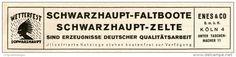 Original-Werbung/ Anzeige 1928 - SCHWARZHAUPT FALTBOOTE / ZELTE - ENES & CO. KÖLN - ca 140 x 30 mm