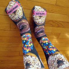 Custom Full Print Printed Socks - Donut Worry Socks - Adult Unisex Size fits Most. Please include the text you would like printed in the notes section at checkout. Discover our full line of custom full print socks!