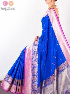 #Blue #Katan #Silk #Banarasi #Kadhuan #Brocade #Handwoven #Saree #HolyWeaves