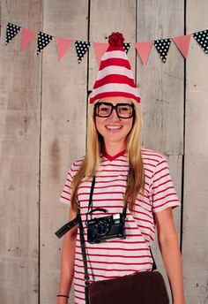 Where's Waldo   Easy Last-Minute Costume Ideas For Adults   Put those stripes in your closet to use and dig out your camera and messenger bag. Voila! Waldo.  Details here from She Knows