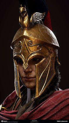 My name is Sabin Lalancette and I'm a member of the Character Production Team for Assassin's Creed Odyssey at the Québec Studio. The Assassin, Arte Assassins Creed, Assassins Creed Odyssey, Assassins Creed Origins, Spartan Helmet, Spartan Warrior, Ancient Rome, Ancient Greece, Inspiration Drawing