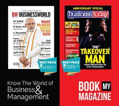The world of business and management is ever changing. Stay on top with the latest news by subscribing to magazines like business today, business world and more!  Get up to 50% discounts on your subscription only on bookmymagazine.com! #BookMyMagazine #Businessmanagement #Magazines #Subscribenow #Greatdiscounts