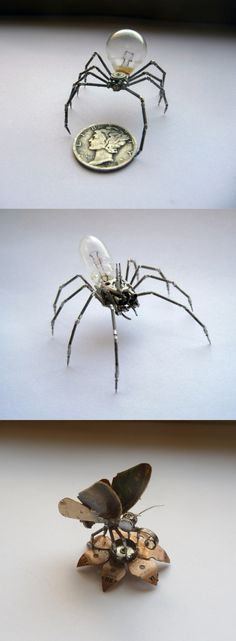 Miniature insects made from watch parts by artist Justin Gershenson-Gates.