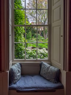 "wanderthewood: "" Garden view - Mompesson House, Salisbury, Wiltshire, England by Bob Radlinski "" Georgian Windows, Georgian Interiors, Interior Architecture, Interior Design, Cozy Nook, Through The Window, My Living Room, Windows And Doors, Decoration"