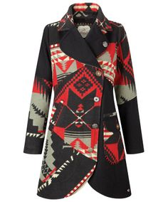 RUSSIAN BLANKET COAT Inspired by a wonderful print from a Russian blanket, this vibrant coat is perfect to brave winter Soviet style. Look Fashion, Winter Fashion, Womens Fashion, Fashion 2018, Sweater Weather, Blanket Coat, Red Blanket, Coats For Women, Clothes For Women