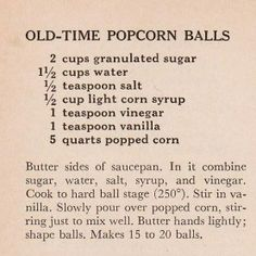 specializing in handwritten recipes from the I remember making popcorn balls for Halloween treats. This might be something to make again for birthday parties. Popcorn Recipes, Candy Recipes, Holiday Recipes, Snack Recipes, Cooking Recipes, Carmel Popcorn Balls Recipe, Toffee Popcorn, Flavored Popcorn, Blender Recipes
