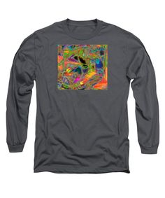 Contemporary Colorful Modern Abstract Expressionist Doodle Manipulated Long Sleeve T-Shirt featuring the digital art Digi Doodle Three by Expressionistartstudio Priscilla-Batzell