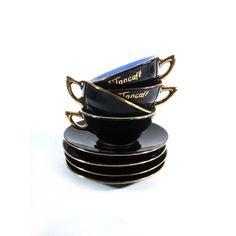 4 Cups of Coffee MonCafé Black Espresso Set by LaBelleEpoqueDeco