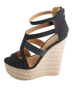 Braided Strappy Woven Chevron Wedge Sandals