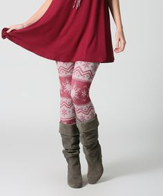Look what I found on #zulily! Burgundy & White Snowflake Fleece-Lined Leggings #zulilyfinds