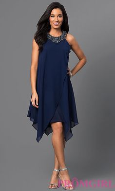 Image of sleeveless navy-blue short handkerchief dress Style: SG-ASWKOATR Detail Image 1 Blue Wedding Guest Dresses, Dusty Pink Bridesmaid Dresses, Blue Homecoming Dresses, Formal Wedding, Fall Fashion Outfits, Fashion Dresses, Navy Dress Outfits, Navy Blue Cocktail Dress, Cocktail Dresses