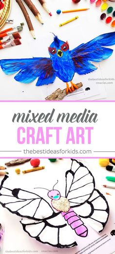 Bird paper bag and Butterly Coffee Filter crafts. These are so fun to make! Mixed media art craft where you use your creativity to finish the picture Kids crafts | Kids activities | Watercolor crafts | Playdough crafts | Coffee Filter crafts | Bird crafts | Butterfly crafts | Animal crafts | Toddler Crafts | Preschooler crafts
