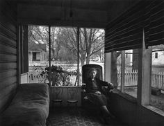 "Ansel Adams, ""Mrs. Gunn on the Front Porch, Independence, CA 1944.""